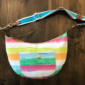 Coach Authentic Canvas Rainbow Striped Purse